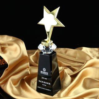 水晶奖杯黑柱五角星