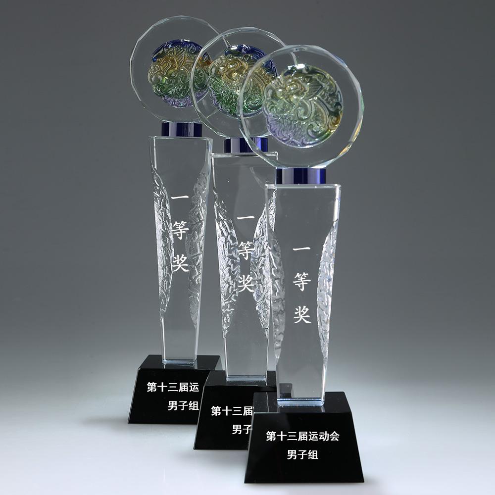 水晶奖杯四方柱琉璃