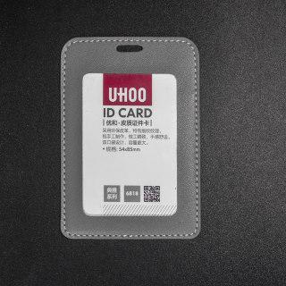 优和 皮质证件卡 6818 竖式 细纹纹理双透 灰色 76*110mm