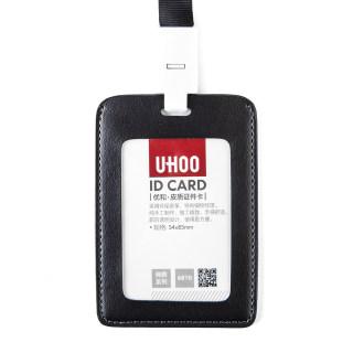 优和 皮质证件卡 6810 竖式 细纹纹理双透 黑色 76*110mm