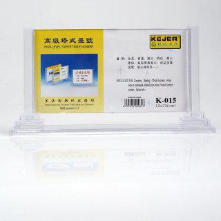科记 塔式台号牌桌面betway体育平台展示牌 K-015  透明色 120*220mm