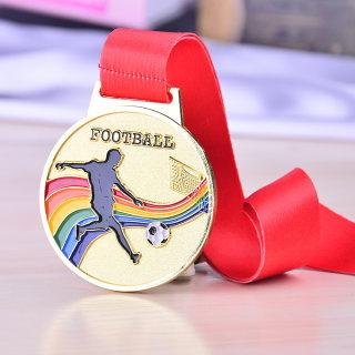 betway必威体育app 奖牌定制马拉松奖牌运动会金牌制作荣誉金属挂牌儿童奖牌定制定做 足球金牌 6.5CM