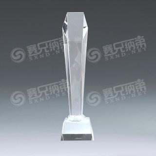 水晶奖杯六角斜面