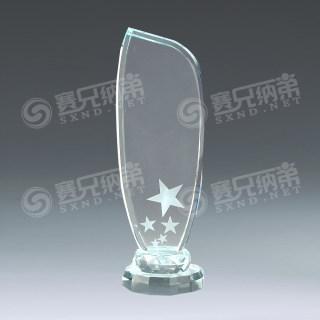 水晶奖杯双层五星奖杯